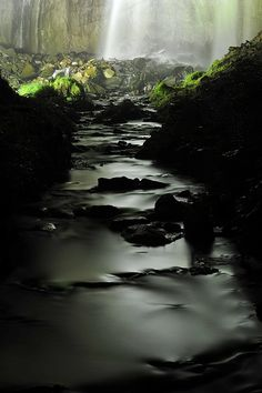 Midnight waterfall and river I Asiribetsu Falls #japan #hokkaido