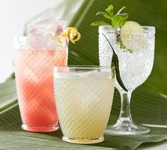 Tropical Pineapple Cocktail Glasses, Set of 4