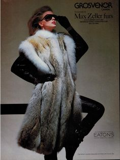 1984 Vintage Furs Grosvenor. Canadian coyote fur chasuble trimmed with arctic fox fur.