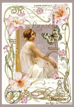 Vintage Perfume Ad Postcard