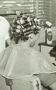 my cute granddad having his weekly shampoo and set Boy Hairstyles, Vintage Hairstyles, Vintage Glamour, Vintage Beauty, Vintage Hair Salons, Sleep In Hair Rollers, Wet Set, Feminized Boys, Curly Short