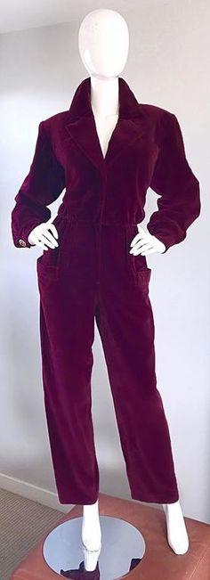 Rare Vintage YSL Yves Saint Laurent Rive Gauche Burgundy Velvet 1970s Jumpsuit