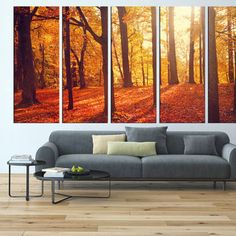 Autumn forest wall art, red leaf tree canvas print, large wall art canvas print…