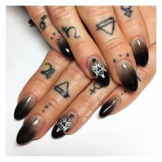 Pagan Tattoo, E Tattoo, Cute Toe Nails, Cute Nail Art, Nail Polish Designs, Nail Art Designs, Gothic Nails, Nail Accessories, Us Nails