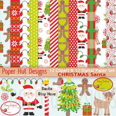 Christmas Digital Papers-Christmas by PaperHutDesigns on Etsy
