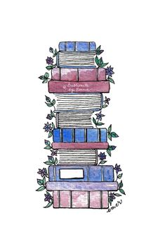 'Flowery Books' Poster by Emma Mildred Riggle Watercolor Projects, Watercolor Art, Bellet Journal, Dibujos Zentangle Art, Creative Bookmarks, Cardboard Box Crafts, Bullet Journal Ideas Pages, Aesthetic Stickers, Book Photography