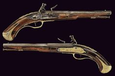 An important pair of flintlock pistols made for Ernst August, Duke of Saxe-Weimar, 18th century.