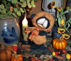 "Primitive Halloween Teddy Bear 5"" Doll Vtg Patti's Ratties Mohair Panda Cub OOAK"
