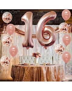 Buy Rose Gold Number 8 Balloon - foil Mylar Rose Gold Balloons Party Decorations Rose Gold Party Supplies for Engagement Birthday Baby Shower Wedding 32 Foot Balloons String - and Find More Baby Shower Party Decorations enjoy up to off. 90th Birthday Decorations, 90th Birthday Parties, Gold Birthday Party, 90 Birthday Party Ideas, Rose Gold Party Decorations, 30th Birthday Ideas For Women, Rose Gold Number Balloons, 16 Balloons, Rose Gold Party Supplies