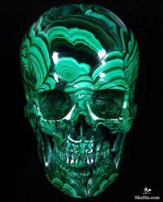 Malachite Geode Crystal Skull Sculpture