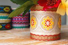 Boho Style Upcycled Fabric & Ribbon Storage Pot or Vase