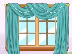 How to Drape Window Scarves. A window scarf, smartly hung, can highlight an entire room. It is like that final accessory that sets off the whole outfit. Use a window scarf to cover up a curtain rod, or install scarf hooks to hang a window. Scarf Curtains, Hanging Curtains, Drapes Curtains, Modern Curtains, Valances, Drapery, Hanging Scarves, Window Swags, Bay Window