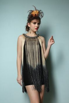Free Shipping Ombre Fringe 20s Flapper Metallic Great Gatsby Jazz Theme Party Dress One Size Alternative Measures