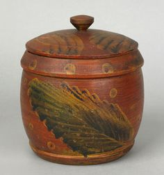 paint decorated wooden cannister