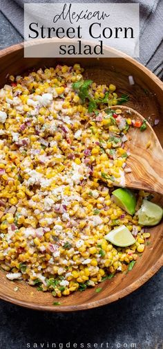 Mexican Street Corn Salad (Esquites)  With everything we love about iconic Mexican Street Corn in an easy, make-ahead tangy, creamy and crunchy salad.  #Mexicanstreetcorn #mexicanstreetcornsalad #cornsalad #streetcorn #esquites #elotes #mexicancornsaladrecipe #mexicancornsalad #cornsaladrecipe #summercornsalad #sidedish #summercornrecipe #recipe Mexican Side Dishes, Healthy Side Dishes, Side Dishes Easy, Corn Salad Recipes, Corn Salads, Vegetable Recipes, Quesadillas, Enchiladas, Burritos