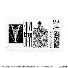 SAVE THE DATE WEDDING POSTAGE STAMP