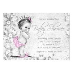 Pretty pink and gray vintage flower adorable princess baby shower invitation. This cute pink vintage baby shower invitation is easily customized for your event by adding your event details, font style, font size & color, and wording.
