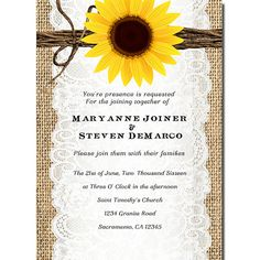 Rustic Wedding Invitation Burlap, twine, and Sunflower Romantic Country theme & matching rsvp card on Etsy, $20.00