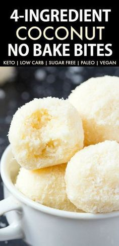 Easy and healthy no bake coconut bites made without condensed milk and needing just 4 ingredients. Made with coconut and almond flour, these paleo and vegan snacks take less than 5 minutes to whip up- They taste like raffaello! Keto Desserts, Keto Dessert Easy, Dessert Recipes, Healthy Vegan Snacks, Keto Snacks, Healthy Baking, Paleo Vegan, Vegan Sugar, Coconut Recipes Healthy
