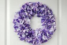 Lavender Rag Wreath Purple Fabric Wreath Lavender Home