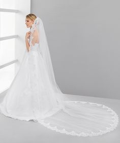 Material: tulle, lace Length: 250 cm Colour: white, ivory
