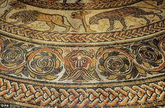 Detail of the reconstruction of the largest Roman mosaic ever found in Britain - featuring 1.6million tiny pieces. The painstaking copy of the Orpheus pavement, discovered in Woodchester, Gloucestershire, took its creators ten years to complete.