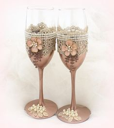 bbf65196bb71 Wedding Champagne Flutes Set Rose Gold Blush Wedding Champagne Glasses with  Pearls and Lace Vintage Wedding Glasses