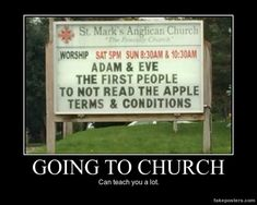 Funny pictures about Adam And Eve Didn't Think Different. Oh, and cool pics about Adam And Eve Didn't Think Different. Also, Adam And Eve Didn't Think Different photos. Funny Church Signs, Church Humor, Funny Signs, Church Memes, Catholic Memes, Haha Funny, Funny Memes, Funny Stuff, 2 Corinthians