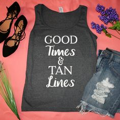 """""""Good Times & Tan Lines"""" Dark Grey Graphic Tank Top  