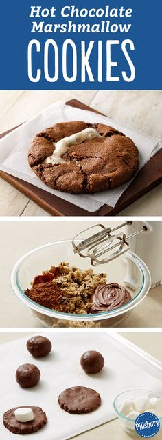 Enjoy these Hot Chocolate Cookies with marshmallows for the holidays with a hot mug of hot chocolate and a warm fire. The best part? Once you bite in, you'll be rewarded with a melty marshmallow center. Perfect for Christmas time or a cold day where you want to use the oven.