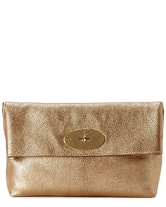 """Mulberry """"Clemmie"""" Metallic Goat Leather Clutch is on Rue. Shop it now."""
