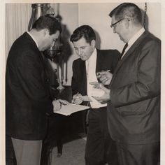 Mexican American Political Association (MAPA) officer installation, Joe de Anda, Rudy Acuña, and Fred Ball (left to right)    Repository : California State University, Northridge. Oviatt Library. Urban Archives Center  Collection : Rodolfo Acuña Papers