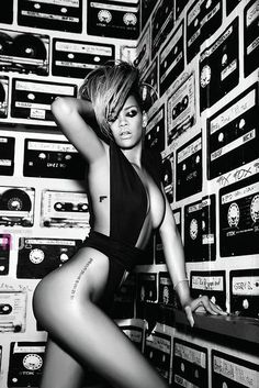 Rihanna in musical black and white! ♥ Pinterest.com/Celebs