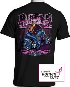 Bikers Against Breast Cancer T Shirt Pink Ribbon Rally Small to 8XL and Tall #PItStopShirtShop #GraphicTee