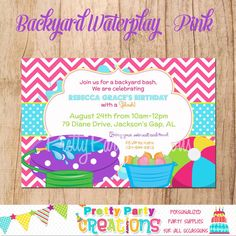BACKYARD WATERPLAY invitation  you print  by PrettyPartyCreations, $11.50