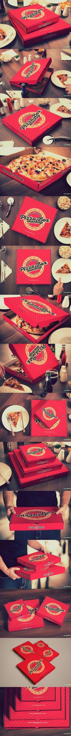 15 Yummy #Pizza Box #Mockups