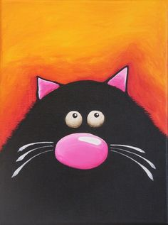 Original acrylic canvas painting whimsical black fat cat art Just chilling (2) #Modernism