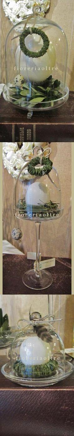 Fioreria Oltre/ Glass cloches with eggshells/ Easter cloches  https://it.pinterest.com/fioreriaoltre/fioreria-oltre-easter/