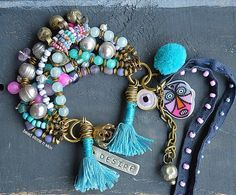 Boho, hippie,  bracelet, Ethnic multi strand bracelet, Gypsy bracelet, Tribal bracelet, Trade bead bracelet, Pearl and gem bracelet