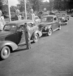 The Day before (US) gasoline rationing came into effect in Washington, DC, July 21, 1942. #vintage #WW2 #1940s #homefront