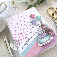 Birthday Fun, Birthday Cards, Cat Cards, Hero Arts, Clear Stamps, I Card, Card Making, Notebook, Crafty