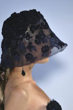 #Chanel Couture Fall 2009 Embellished Full Coverage Hats|The Terrier and Lobster| #chapeau #hat #blue