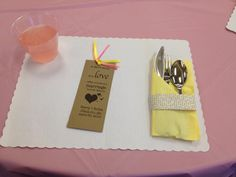 "Bridal shower bookmark: ""A short story is a love affair; a novel is a marriage.""  Also love the page strip wrapped around the napkin."