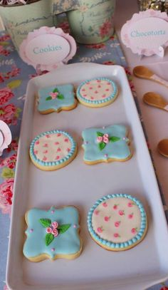 Decorated cookies at a shabby chic baptism party! See more party planning ideas at CatchMyParty.com!