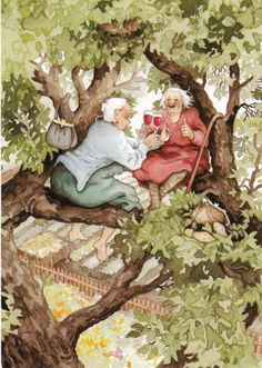 You're never too old to share a glass of wine with a girlfriend, even in a tree!