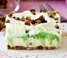 Cool and Creamy Pistachio Pudding Layer Dessert -- can't stop eating this!!