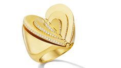 CADAR Endless Cocktail Ring is a full heart that opens to reveal additional hearts, in yellow gold and diamonds. (=)
