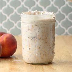 Peach Pie Overnight Oats Recipe by Tasty - Food Recipe Vanilla Overnight Oats, Blueberry Overnight Oats, Chocolate Overnight Oats, Overnight Oatmeal, Oats Recipes, Gourmet Recipes, Recipies, Wonton Recipes, Pudding Recipes
