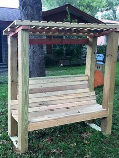 Pallet wood pergola bench is easy to prepare because there is no need of cutting the wood in different shapes which requires time. It is a good option for the seating arrangement in the lawn; the person can paint the pallets to make the bench look attractive. The pergola bench is shown which is simple; the style can be changed according to the creativity.