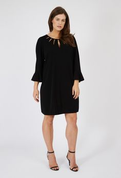 4789df5bcb41a Buy our exclusive crepe jersey slit tunic dress in black from the Anna  Scholz designer plus size collection